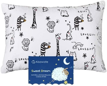 Oreiller pour enfant avec taie d'oreiller Aisawate– 33 x 45 cm